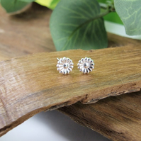 Fine Silver Daisy Stud Earrings, Recycled Silver Dainty Earrings