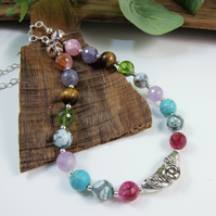 Sterling Silver and Mixed Gemstone Necklace with Artisan Silver Flower Bead