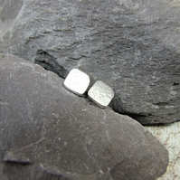 Sterling Silver Square Stud Earrings. 10mm Textured Square Studs