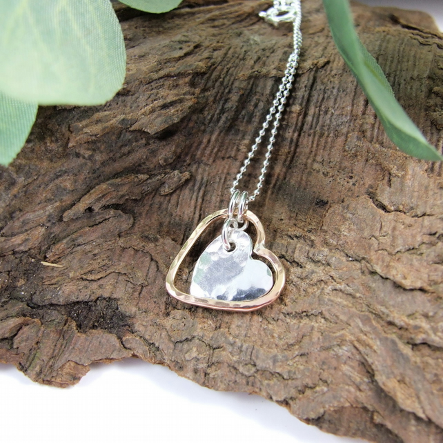 Pendant, Silver and Rose Gold Filled Double Hearts Necklace