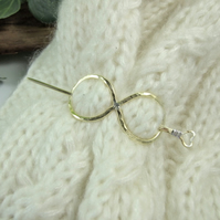 Shawl Pin, Brass Infinity Knot Celtic Clasp