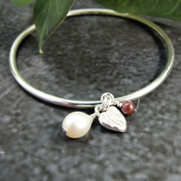 Sterling Silver Bangle with Garnet, Pearl and Heart Charm