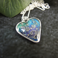 Silver Heart Pendant. Enamel and Resin Blue and Green Heart Necklace