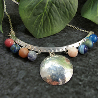 Solar System Necklace, Sterling Silver with Mixed Gemstones