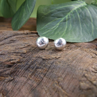 Sterling Silver Stud Earrings, Recycled Silver 8mm Round Earrings