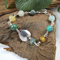 Gemstone Bracelet. Sterling Silver Leaf and Mixed Gemstone Bracelet