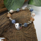 Gemstone Bracelet. Sterling Silver Heart and Mixed Gemstone Bracelet