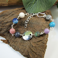 Gemstone Bracelet. Sterling Silver Floral Circle and Mixed Gemstone Bracelet