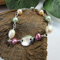 Gemstone Bracelet. Sterling Silver Floral Oval and Mixed Pearl Bracelet