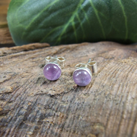 Stud Earrings, Fluorite and Sterling Silver 5mm Studs