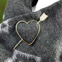 Shawl Pin, Brass Cupids Heart and Arrow