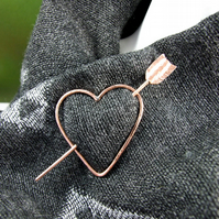 Shawl Pin, Copper Cupids Heart and Arrow