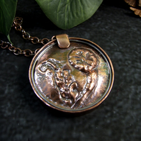 Copper Statement Pendant. Handcrafted Repousse Dandelion Clock Necklace