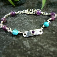 Gemstone Bracelet. Sterling Silver Amethyst and Turquoise Gemstone Bracelet