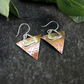 Earrings, Sterling Silver and Copper Geometric Triangular Earrings