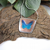 Butterfly Pendant, Sterling Silver and Copper Handpainted Butterfly