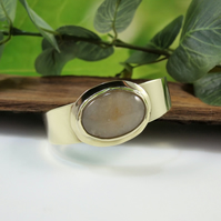Brass Cuff Bangle with Large Quartz Gemstone