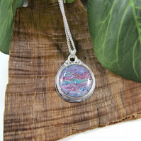Sterling Silver Pendant. Hand Painted Purple and Blue Necklace