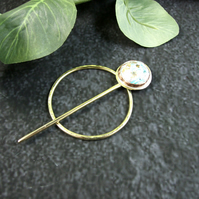 Shawl Pin, Brass with Handmade Resin Cabachon for Scarf, Shawl, Cardi or Wrap
