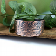 Copper Cuff, Wide Flower Pattern Cuff Bangle, 1in Wide Cuff Bracelet, Medium