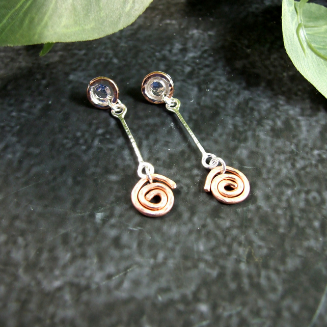 Earrings, Sterling Silver and Copper Spiral Dropper Earrings
