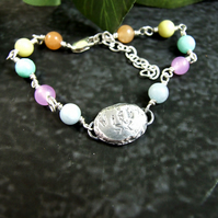 Gemstone Bracelet. Sterling Silver with Recycled Silver Nugget Wish & Star