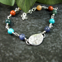 Gemstone Bracelet. Sterling Silver with Recycled Silver Nugget Dream Moon & Star