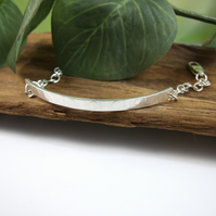 Sterling Silver Slim Bar Bracelet, Hand forged Dot Patterened Adjustable Fit