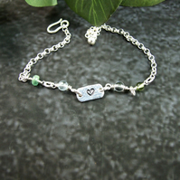Bracelet. Sterling Silver Bracelet with Heart Tag and Mixed Gemstones