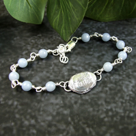 Angelite Bracelet. Sterling Silver with Recycled Silver Nugget Faith & Feather