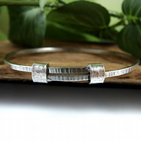 Sterling Silver Adjustable Fit Bangle. Textured Bracelet. Ladies Size Small