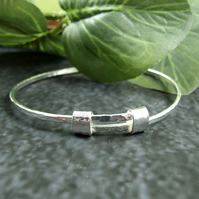Sterling Silver Adjustable Fit Bangle. Hammered Bracelet. Ladies Size Small