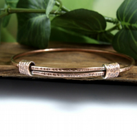 Copper Adjustable Fit Bangle. Textured Bracelet. Ladies Size Medium-Large