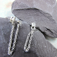 Earrings, Sterling Silver Chain and Cubic Zirconia Studs