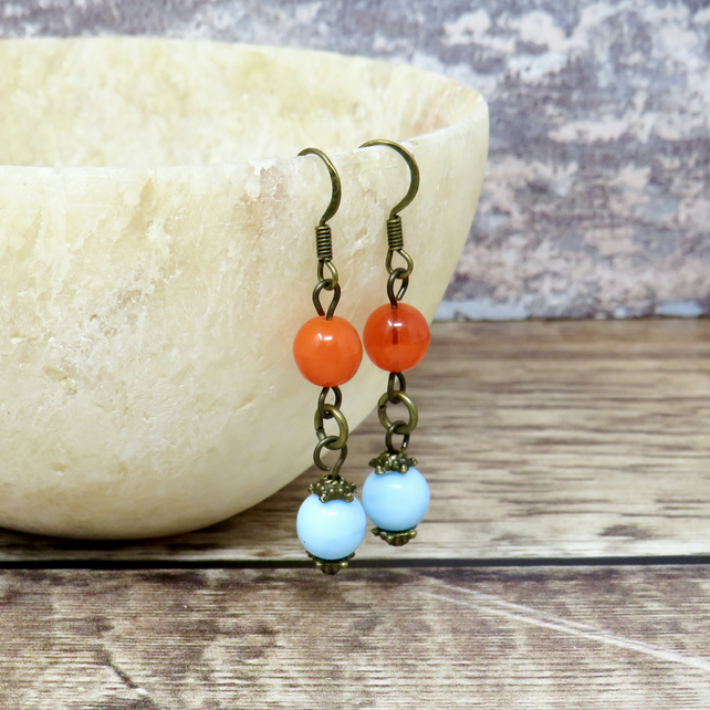 Blue and coral dangle earrings
