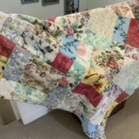 Patchwork quilt - repurposed vintage fabric