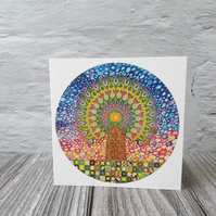All occasions Greeting cards, Mandala Tree of Life blank fine art card, notelets