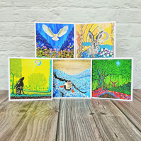 Pack of 5 Wildlife Art Cards, Greetings Card Pack, Birthday Cards, Thank You