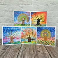 Pack of 5 Tree of Life Greetings Cards