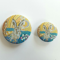 Hare Pin Button Badge, 25mm or 38mm