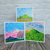 Glastonbury Tor Cards, Pack of 3 Greetings Cards, Birthday Cards, Thank You Card