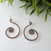 Copper Spiral hoop earrings, copper jewellery, rustic handmade earrings