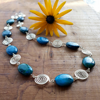 Silver spiral Azurite beaded necklace