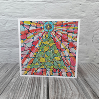 Christmas cards, Spirals Tree blank fine art greeting cards for women or men