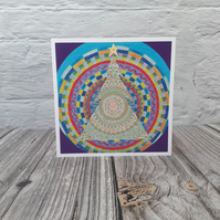 Chistmas cards, Mandala Tree blank fine art greeting cards for women or men