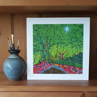 Tree of Life and Stag Art Print, Birthday Gift, Christmas Gift, Framed Fine Art