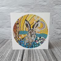Hare blank greeting cards, notelets for women or men,