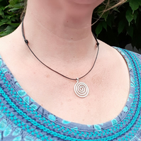 Simple silver spiral pendant necklace, everyday Celtic jewellery