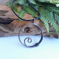 Copper Hoop Spiral Pendant, Necklace, Handmade jewellery, Viking, Celtic design