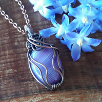 Purple and copper pendant, wire wrapped necklace